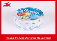 Embossed Small Flat Round Tin Containers Lids Attached For Games Cards And Dices