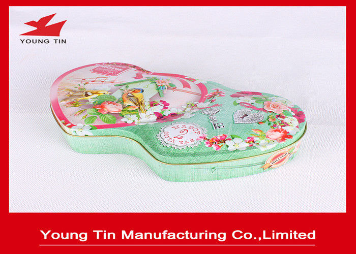 Double Heart Shape CMYK  Printed Candy Gift Tin Box Tinplate Metal With Embossing