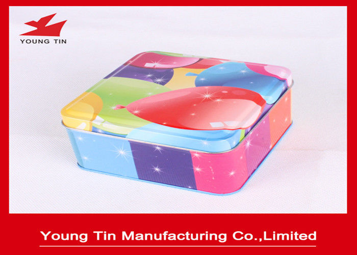 CMYK Printing Square Metal Tins , Food Grade Tinplate Material Metal Gift Box