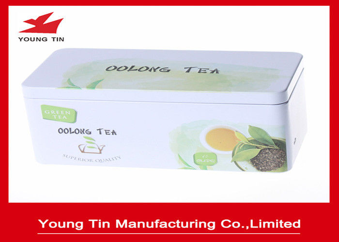 Custom Rectangle Metal Tea Tins Printed and Embossed Container With Lids