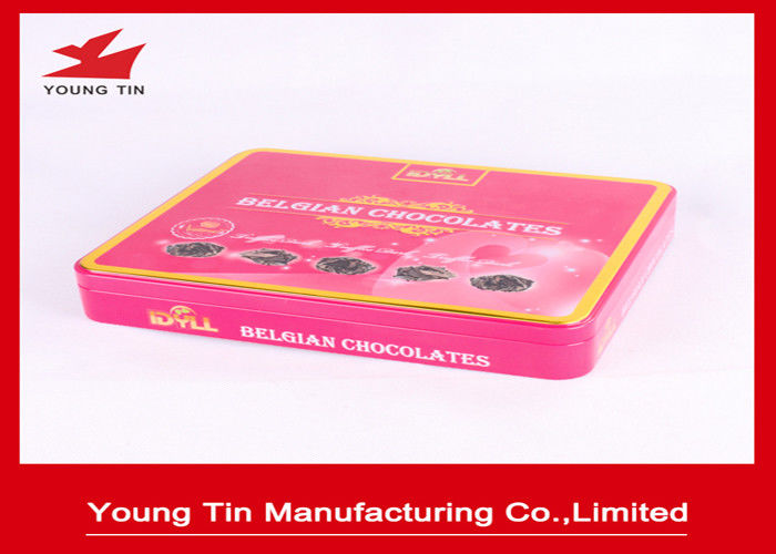 Empty Food Grade Chocolate Tin Boxes With Artwork Full Color CMYK Printing Outside