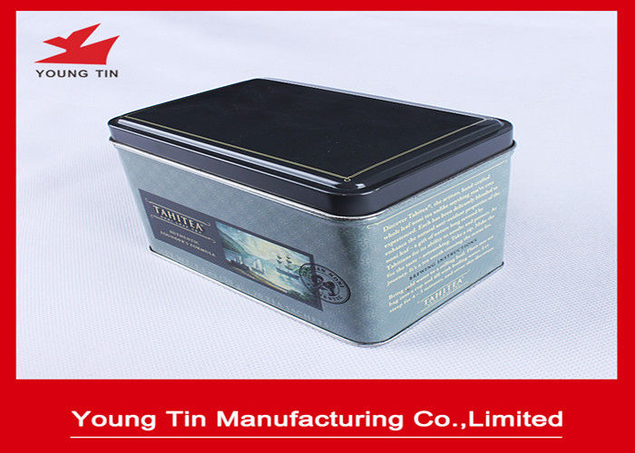 Rectangle Metal Coffee Tins Container Box With CMYK Printing 125 x 82 x 82 MM