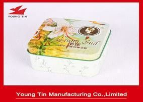 Soap Sud Packaging Rectangular Hinged Tin Containers With Artwork Printing Outside