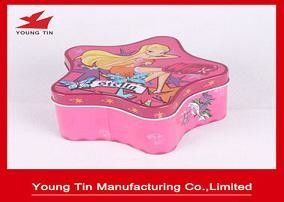 Christmas Star Shaped Candy Gift Tins , Personalized Packaging Tin container Box